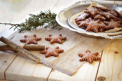 Gingerbread in the shape of snowflakes Royalty Free Stock Photo