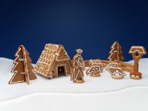 Gingerbread shepherd with flock of sheep Stock Images