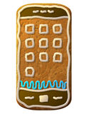 Gingerbread smartphone decorated colored icing Royalty Free Stock Photography