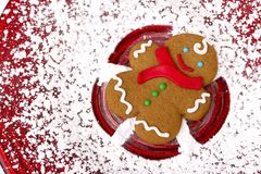 Gingerbread Snow Angel. Red Background Stock Images