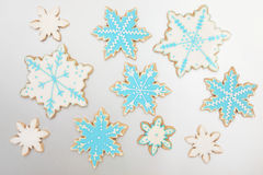 Gingerbread Snowflake Biscuits Stock Photo