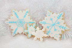 Gingerbread Snowflake Biscuits Stock Photos