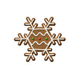 Gingerbread Snowflake Christmas Cookie Royalty Free Stock Photos