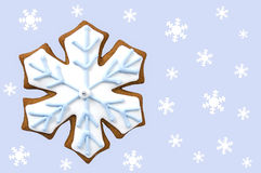 Gingerbread snowflake cookie Stock Image