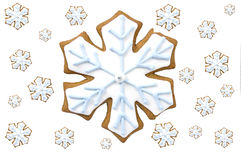 Gingerbread snowflake cookie. With tiny white snowflakes on white background in horizontal format with copy space Stock Images