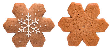 Gingerbread snowflake isolated on white background Royalty Free Stock Images