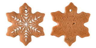 Gingerbread snowflake isolated on white background Royalty Free Stock Photos