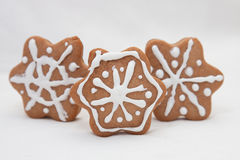 Gingerbread snowflakes Stock Photos