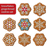 Gingerbread snowflakes cookies. Set vector isolated illustration on white background Stock Images