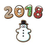 Snowman cookie vector  illustration Royalty Free Stock Photo