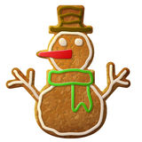Gingerbread snowman symbol decorated colored icing Stock Images