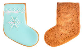 Gingerbread sock isolated on white background Royalty Free Stock Photos