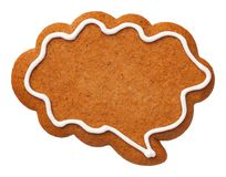 Gingerbread Speech Cloud Cookie Isolated on White Background. Top view royalty free stock photography