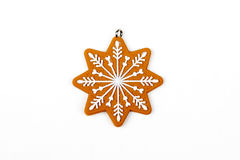 Gingerbread star's, snowflake`s figure, snow. Christmas tree, New Year, winter decors. royalty free stock photos