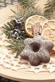 Gingerbread star. With pine and dried orange slices Stock Photo