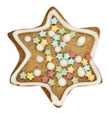 Gingerbread star with clipping path Royalty Free Stock Image