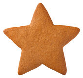 Gingerbread Star Cookie. For Christmas isolated on white background. Top view royalty free stock photography
