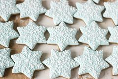 Gingerbread star cookie for Christmas on white background. stock image