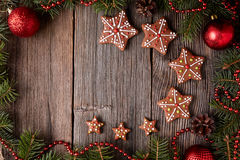 Gingerbread star cookies composition in fir tree Royalty Free Stock Photos