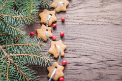 Gingerbread star garland Stock Images