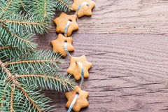 Gingerbread star garland Royalty Free Stock Images