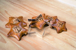 Gingerbread stars with nut Royalty Free Stock Image