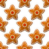 Gingerbread stars seamless pattern Royalty Free Stock Photos