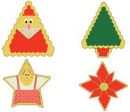 Gingerbread style christmas el. Gingerbread style poinsettia, ginger-woman, tree, and santa Royalty Free Stock Photo