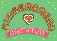 Gingerbread. Sweet and Tasty. Sweet font. Gingerbread. Sweet font. Letters as a festive brown cookies with white decor. Cookie heart. Green background with Royalty Free Stock Photo