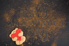 Gingerbread teddy bear. Valentine`s Day royalty free stock images