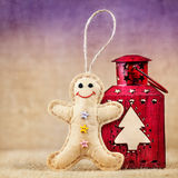 Gingerbread toy near lantern Royalty Free Stock Photos