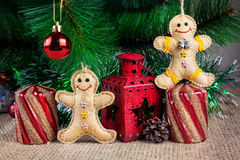 Gingerbread toys near Christmas tree Stock Photo
