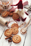 Gingerbread traditional Christmas cookies big buttons Royalty Free Stock Photography