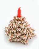 Gingerbread tree with the candle.  Royalty Free Stock Images
