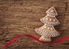 Gingerbread tree cookie Stock Image