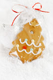 Gingerbread tree cookie in a bag on white  snow background Stock Image