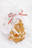 Gingerbread tree cookie in a bag on white  snow background Royalty Free Stock Photography