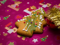 Gingerbread tree and decorations Royalty Free Stock Photos