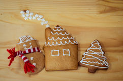 Gingerbread tree, snowman and house Royalty Free Stock Photography