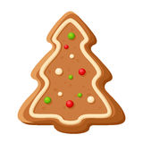 Gingerbread tree. Vector Christmas cookie. stock illustration