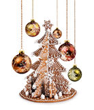 Gingerbread tree and Xmas glass balls Royalty Free Stock Photo