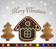 Gingerbread trees and house on snow background. Gingerbread trees and chocolate house on snow background with decorations christmas card Stock Images