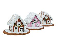 Gingerbread Village. Cookie houses, Christmas. Handmade. Isolated on white royalty free stock photo