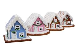 Gingerbread Village. Cookie houses, Christmas. Handmade. Isolated on white royalty free stock images