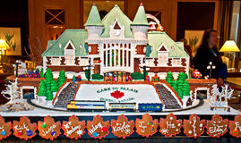 Gingerbread Village Gare du Palais Que. SEATTLE WA – DECEMBER 13:  This masterpiece gingerbread of Gare du Palais Quebec, was on display at the 19th annual Royalty Free Stock Image