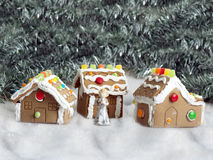 Gingerbread village. Hand made gingerbread houses on sugar snow Stock Photography