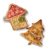 Gingerbread on white background isolated house and christmas tree with shadow stock illustration