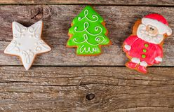 Gingerbread winter Christmas tree on wooden stock photo