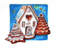 Gingerbread winter house,  hand drawn Royalty Free Stock Photo