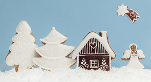 Gingerbread winter landscape Royalty Free Stock Photo